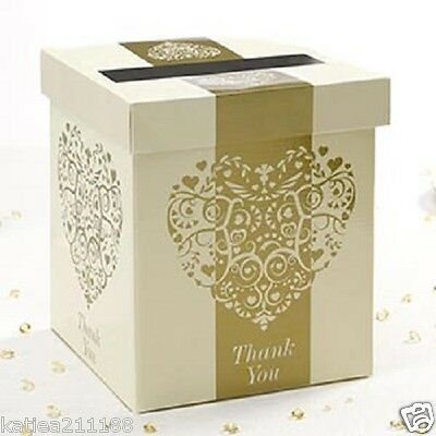 New wedding vintage romance ivory and gold elegant heart card gift post box
