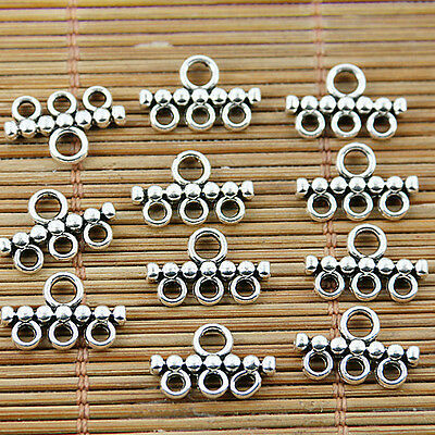 40PCS Tibetan silver plated 3 holes connectors EF1608