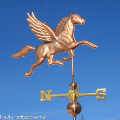 Copper Pegasus  Weathervane With Copper Balls And Brass Directionals #406