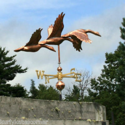Large Copper 3 Geese Weathervane With Copper Balls And Brass Directionals #188