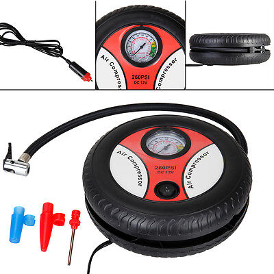260PSI Car Tire Inflator Pump Electric With 3 Nozzle Adapter Pressure Gauge