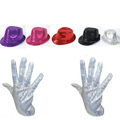 Men Lady Michael Jackson Silver Sequin Glove +Capone Party Trilby Dance Hat Set