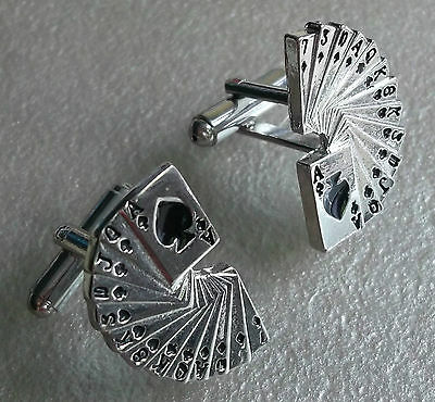 PLAYING CARD CASINO CUFFLINKS SILVER COLOURED METAL MOD ACE SPADES MAGIC