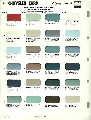 1963 CHRYSLER/DODGE/PLYMOUTH Color Chip Paint Sample Brochure/Chart: M. SENOUR