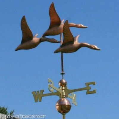 LARGE HERON COPPER WEATHERVANE WITH COPPER BALLS AND BRASS DIRECTIONALS #201