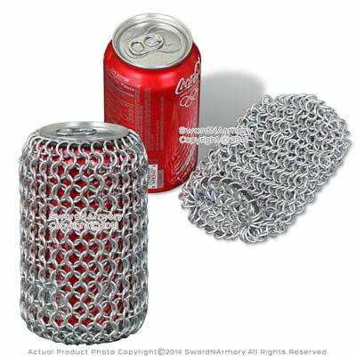 Medieval Style Aluminum Chainmail Soda Beer Can Koozie Renaissance LARP SCA