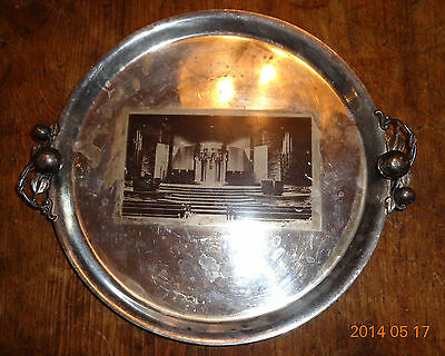old International silver plated tray synagogue transfer photo