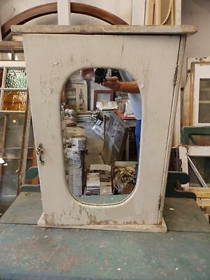 ANtique Medicine Cabinet Cupboard Shabby Cottage Chic W Key Oval Mirror 3493-14