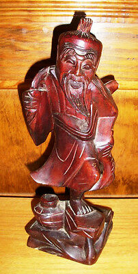 Antique Oriental Asian Hand Carved Wooden Man with Fish and Basket Statue