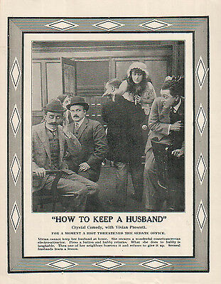 Vivian Prescott Charles De Forrest 1914 Ad-How To Keep A Husband /Crystal Comedy
