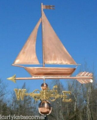 "Copper   "" Sailboat "" Weathervane  Made In Usa #401S"