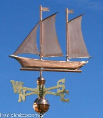 "Copper   "" Schooner "" Weathervane  Made In Usa #475"