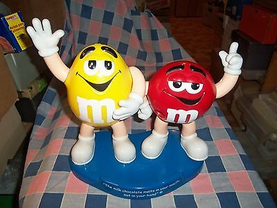 "M & M Candy Dispenser Red Yellow Milk Chocolate Melts Mouth not Hand 10 1/4"" Hi"
