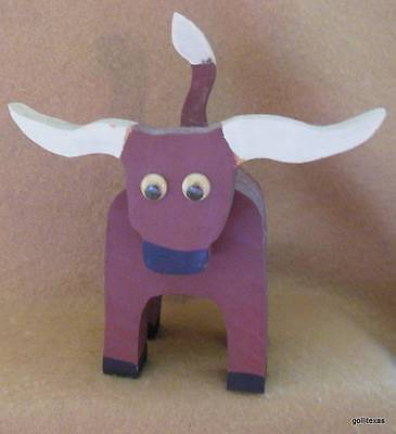 "Vintage Hand Made Wooden Longhorn Steer Burgundy and White 6 x 5 x 3.5"" Signed"