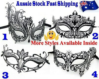 Venetian Style Luxury Party Black Metal Masquerade Mask with Rhinestones