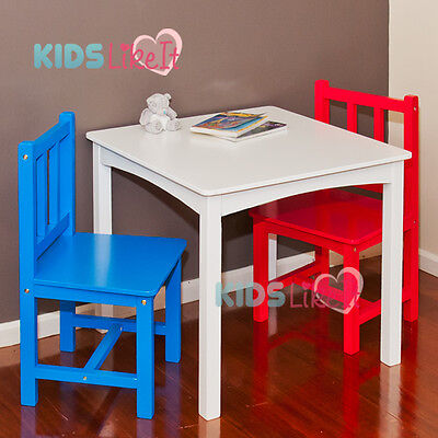 Kids BOYS NZ TIMBER Wooden 60CM Large SQUARE TABLE Chairs SET White RED BLUE