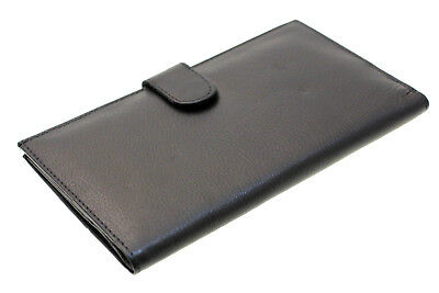 Mens Womens Checkbook Wallet Genuine Leather Cover Holder Button Snap Closed New