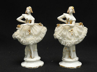 PAIR of RARE ANTIQUE DRESDEN SITZENDORF PORCELAIN BALLERINA FIGURINE ~ 5.75""