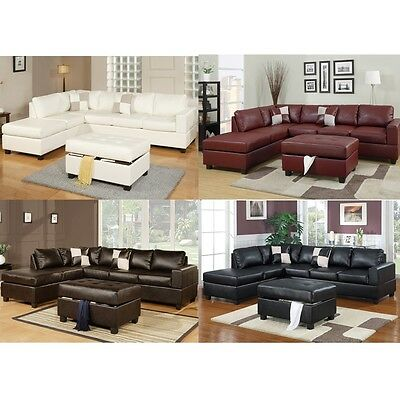 Chic Modern Bonded Leather Living Room Sectional Sofa Chaise w/ Ottoman Pillows