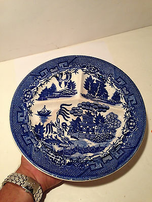 """Motijama Occupied Japan Grill Plate Oriental Blue Willow Divided 10 3/8"""""""