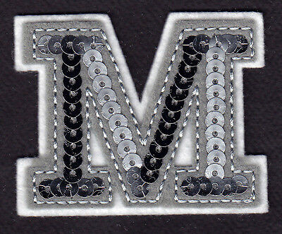"""SILVER SEQUIN 2/"""" Silver Sequin Letter /""""V/"""" Iron On Applique Patch"""