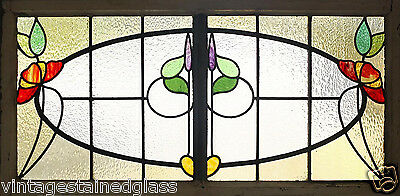 Large Antique Stained Glass Stunning Eight Color Floral                   (2755)