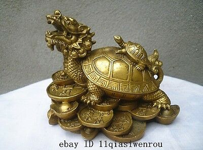 lucky Chinese handwork Bronze Fengshui Dragon Turtle Statue