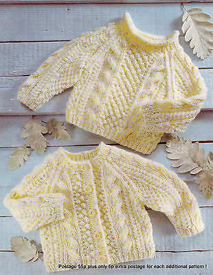 "Baby Aran Cardigan & Sweater Pattern - Ropes & Popcorn - 16"" - 26"" To Knit !"