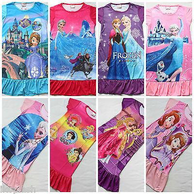 New Girls Frozen Elsa Anna Sofia Princess Nightwear Sleepwear Nightie 4-8 Years