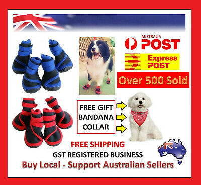 4 pc Pet Dog Shoes Puppy Cat Shoes Boots Waterproof Anti-Slip Paw Protector Bowl