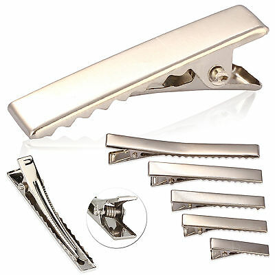 New 10 20 30 50 100X Small Medium Silver Crocodile Bow Blank Hair Clip lot