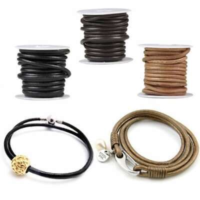 1 Roll 5m Real Round Leather Cord Thong Jewellery Beading Making String 4/5/6mm