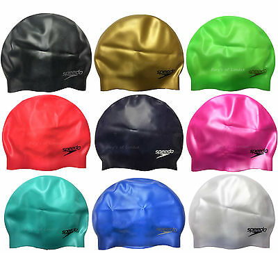 Speedo Adult Moulded Silicone Swimming Cap Black Royal White Pink Red Gold Green