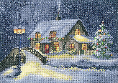 Heritage Crafts Collection Christmas Cottage Cross Stitch Kit