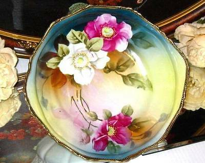 PRE-NIPPON PINK ANEMONE FLORAL H. PAINTED RAISED MOLD BEADED PORCELAIN BOWL
