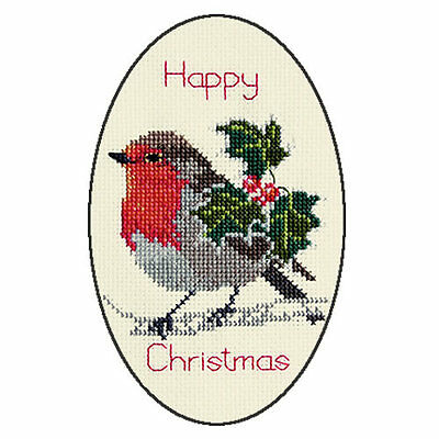 Derwentwater Designs Holly And Robin Christmas Card Cross Stitch Kit
