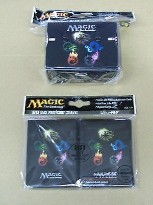Magic 80 Mana Symbols Deck Protector Sleeves and Box with counter lot MTG