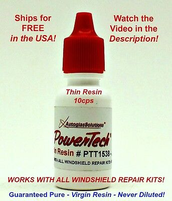 PowerTech Thin Windshield Glass Chip/Crack Repair UV Resin .5oz