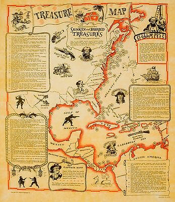 4 CARIBBEAN PIRATE POSTERS old parchment style MAP, TALES, CREED & WEAPONS