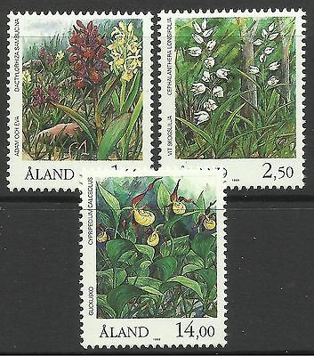 ALAND. 1989. Orchids Set. SG: 36/38. Mint Never Hinged.