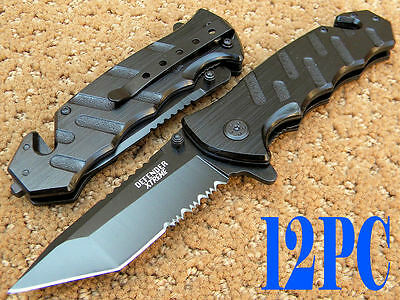 Wholesale 12 PC  Black Tanto Point Spring Assisted Defender Rescue P/ Knife 5410