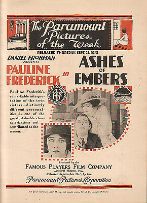 Pauline Frederick 1916 Ad- Ashes Of Embers /Paramount/Daniel Frohman