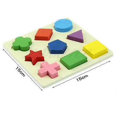 Baby Kids Wooden Geometry Block Puzzle Montessori Early Educational Learning Toy