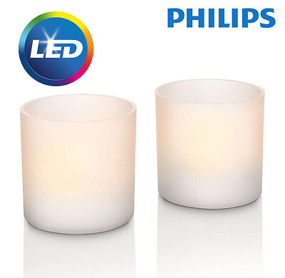 Philips Rechargeable Flickering Flameless White LED Tea Light Candle Set
