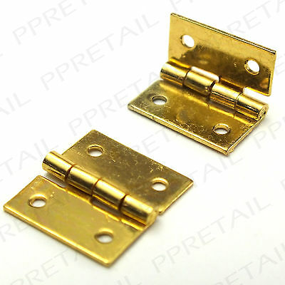 2x MINI 13mm SOLID BRASS HINGES Small Dollhouse Jewellery Chest Door Box Pair