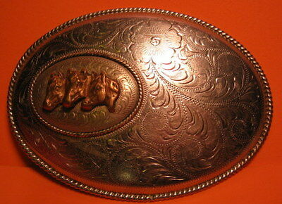 Hand Made Old Beautiful Engraved 3 Horse Heads 2 Layers BELT BUCKLE