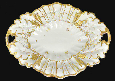 Antique KPM (Germany) Oval Porcelain Gilded Serving Bowl, Oak Leaves & Acorns
