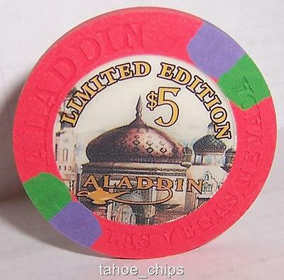 GRAND OPENING ALADDIN CASINO CHIPS  LIMITED $5 CHIP LAS VEGAS NEVADA