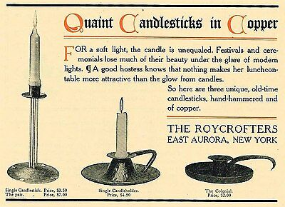 1911 AD Candlesticks in hammered copper-Roycrofters-arts and crafts movement