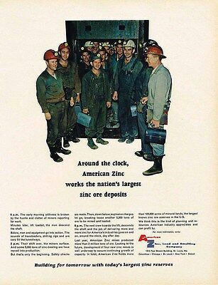 1966 metal AD American Zinc, Lead and Smelting Co. - miners-ORIGINAL ADVERTISING